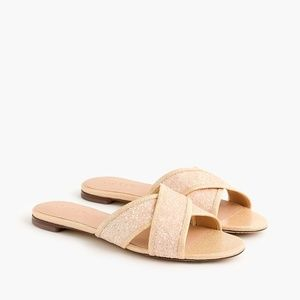NWT J. Crew Glitter Cora Crisscross Sandals